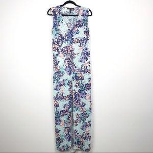 BCBGMaxazria Floral Split Front Maxi Dress Blue S